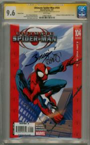 Ultimate Spider-man #104 Retail Variant 1:50 CGC 9.6 Signature Series Signed Brian Bendis & Mark Bagley comic book